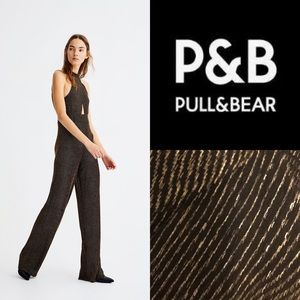 Pull and Bear Lurex Metallic Knit Halter Jumpsuit